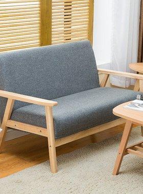 床简单多人出租房木脚布艺沙发小户型办公室接待简约家私理F发店H