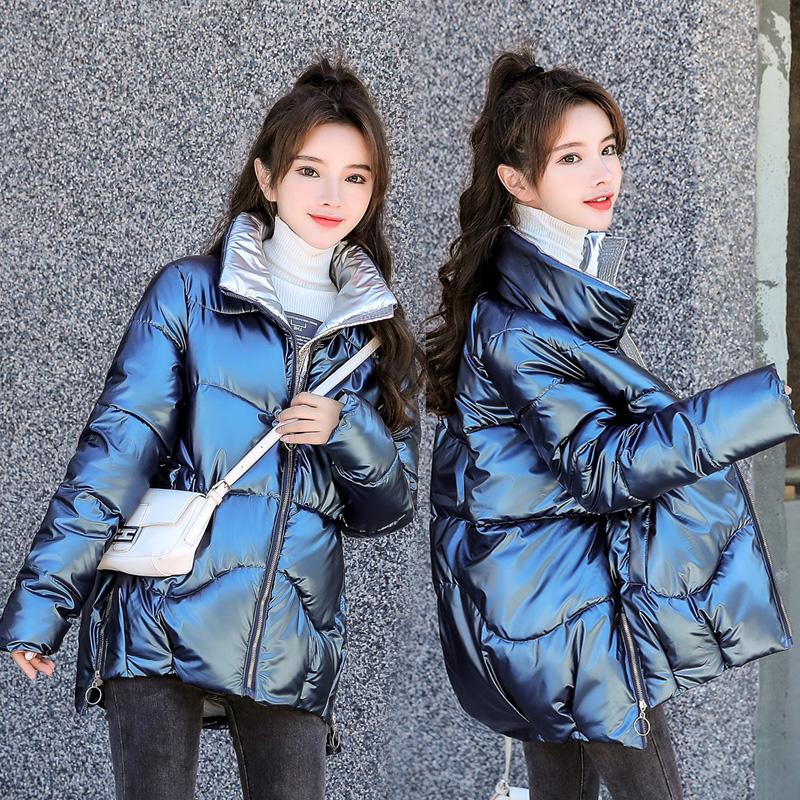 2020新款女冬季韩版加大码宽松羽绒棉反季亮面免洗短款棉衣外套女