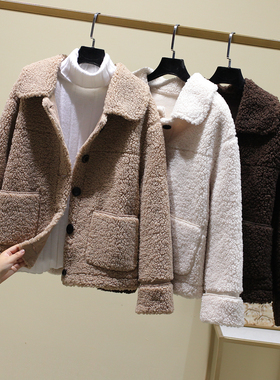 2021春秋冬年轻款颗粒羊剪绒女复合皮毛一体羊羔毛短款皮草外套
