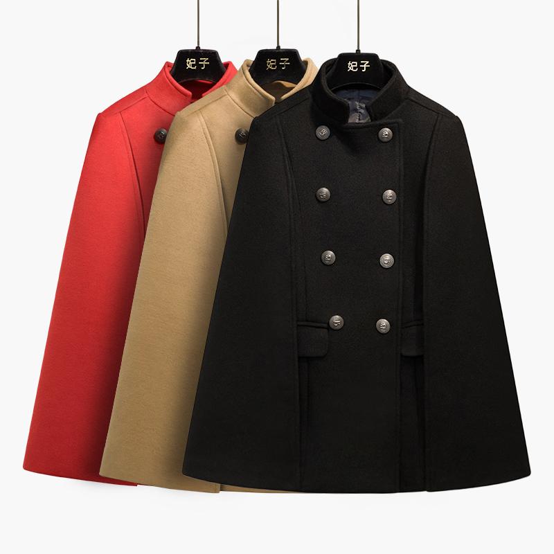 妃子黑色斗篷披肩外套女秋冬2020新款英伦风短款毛呢大衣女小个子