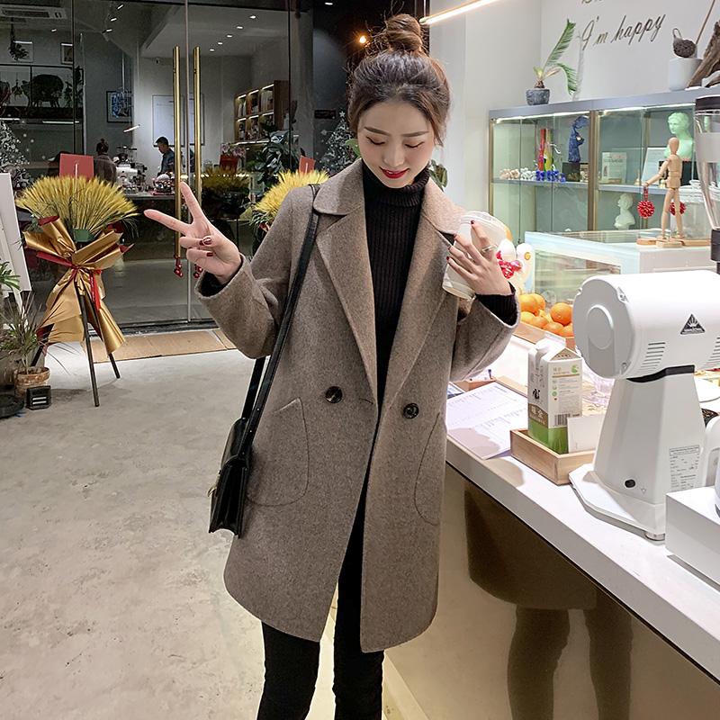 反季2021春秋季新款小个子毛呢外套女中长款韩版短款咖色呢子大衣