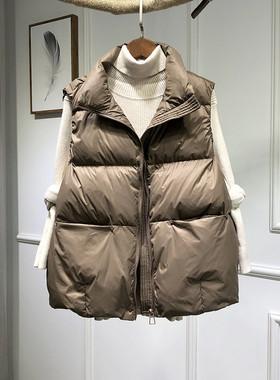 2020秋冬新款羽绒服马甲女短款宽松显瘦百搭薄外套白鸭绒背心马夹