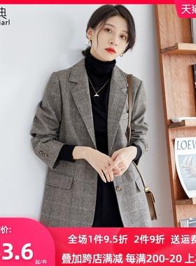 格子羊毛呢西装外套女短款2020年新款韩版呢子大衣冬款加厚小个子