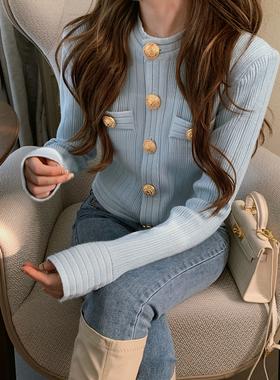 小香风短外套女2020秋冬新款洋气百搭修身铜扣针织开衫短款上衣潮