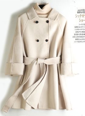 2020秋冬新款双面羊绒大衣女斗篷娃娃领小个子短款可爱毛呢外套