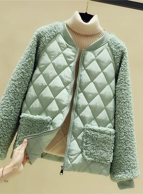 羊羔毛棉服女短款秋冬季新款韩版宽松棉衣轻薄小棉袄羽绒保暖外套
