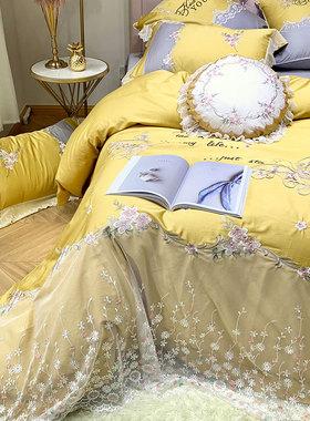 高端刺绣家纺床上用品全棉纯棉60支长绒棉公主蕾丝花边被套四件套