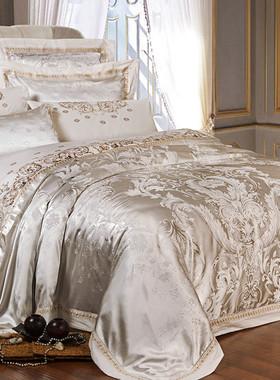 欧式全棉贡缎床品床上四件套夏季纯棉套件冰丝缎面高端大气家纺