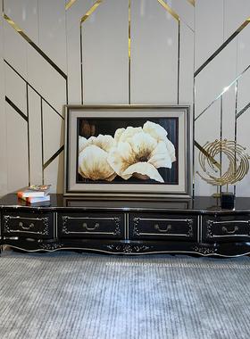 欧式电视柜黑檀色 实木电视柜茶几组合套装 现代简约卧室客厅家具