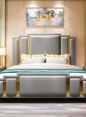 意式轻奢真皮床 双人床简约现代ins网红床皮艺床卧室家具组合套装
