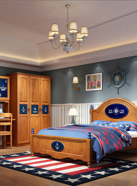 温情港 全实木儿童房家具组合套装床带书桌衣柜 卧室房间全套家具