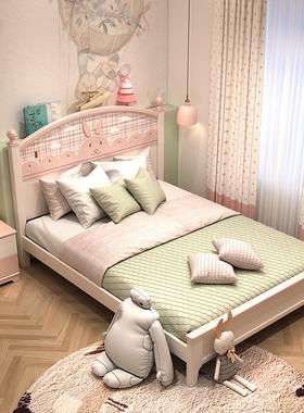 兔子北欧女孩儿童房间成套家具套装组合卧室儿童床书桌衣柜套房