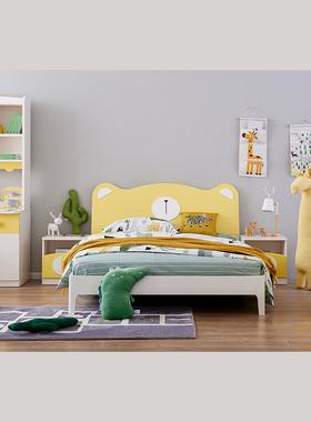 儿童床卡通卧室床1.5m家用单人双人床床头柜书桌衣柜成套家具组合