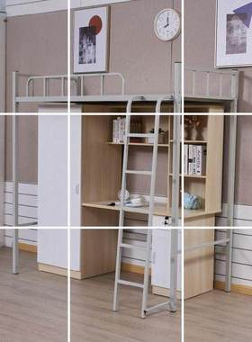 亲子组装小卧室铁架大人上床家具简易儿童高低床带书桌衣柜组合