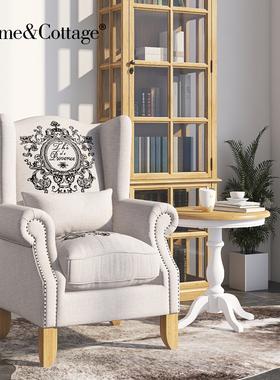 HC美式布艺沙发椅亚麻羽绒休闲实木老虎椅客厅卧室单人欧式小家具