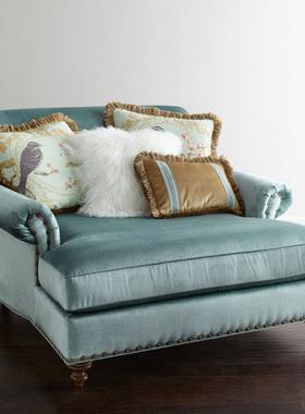 欧式新古典单人大沙发椅躺椅贵妃椅休闲塌 美式乡村会所卧室家具