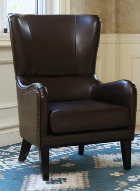美式沙发皮沙发工业风家具商用卧室客厅休闲电脑椅复古老虎椅