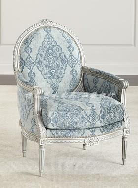 诗慕美式欧式全实木单人沙发椅客厅卧室布艺休闲椅老虎椅银箔家具