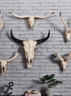 复古羊头牛头壁挂壁饰创意个性装饰品夜场酒吧家装墙面挂饰工艺品