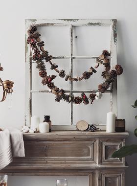 原始松果树叶挂件摆件壁饰餐厅墙面创意家装饰品房间卧室圣诞挂饰