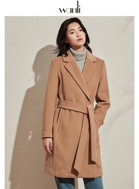 万丽(服饰)双面呢大衣女中长款2020新款森系韩版冬季毛呢外套女