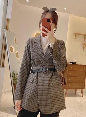 现货IMFLY/陈儒兵服饰店 格子西装外套女英伦风宽松显瘦腰带西服