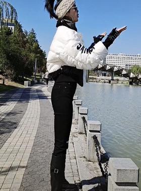 艾衣岑抖音迷巧服饰同款棉衣外套短款长袖时尚百搭黑色长裤秋冬款