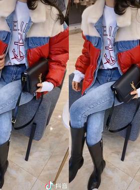 王颖精品服饰抖音同款设计感毛绒牛仔拼接羽绒棉服加厚减龄气质潮