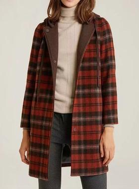 特价阿伟服饰出口韩国品牌女装冬季红色格子直筒羊毛呢半大衣外套