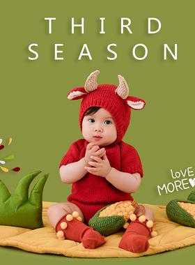 牛宝宝百天3个月男女孩拍照服饰红色百日孩子新年大红圣诞小牛服