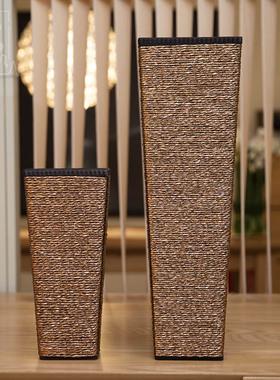 知根 家饰花瓶 现代时尚客厅落地木质大花瓶 仿真花假花插花花器