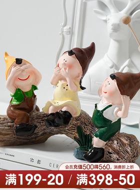 贝汉美现代家饰树脂装饰品可爱摆件生日礼物三不娃娃不听客厅创意
