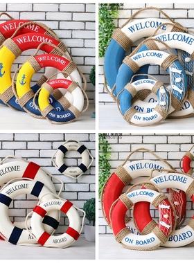 地中海家饰创意家居酒吧装饰救生圈游泳圈海洋风格壁饰摆件道具