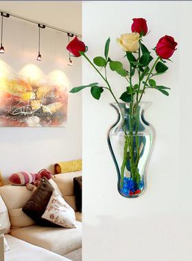 立体墙饰创意亚克力壁挂鱼缸水族箱家饰挂墙水培花盆壁饰花瓶透明