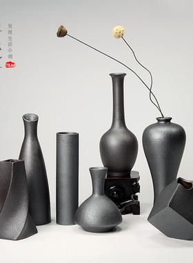 铁陶釉花器原矿粗陶小花瓶花插 陶瓷花道台面中小号花器居家饰品