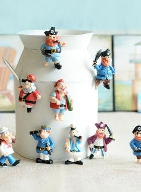 海洋创意家饰卡通树脂冰箱贴磁贴海盗人物地中海贴饰海滨旅游纪念