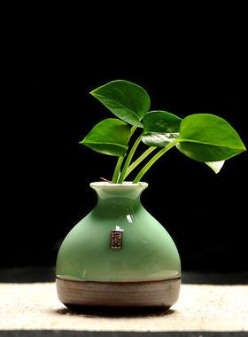 龙泉青瓷仿古陶瓷花瓶客厅台面简约插花装饰瓷器居家饰品摆件花器