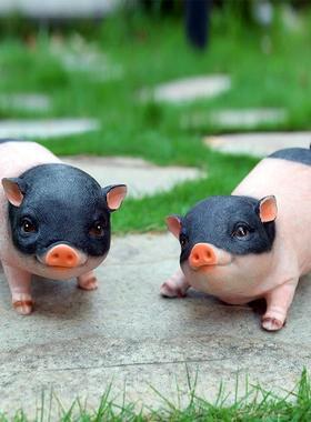 树脂模型猪时尚礼品花雕塑家饰摆件书房萌猪仔装饰品闺蜜小猪动物
