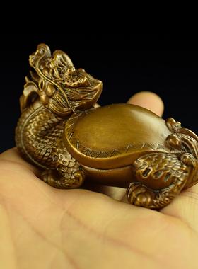 铜实心龙龟把玩手把件办公桌霸下小摆件茶宠镇纸家居家饰工艺品