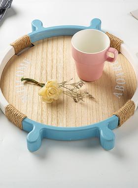 地中海木质船舵托盘储物收纳海洋风家饰ins简约居家水果茶杯盘子