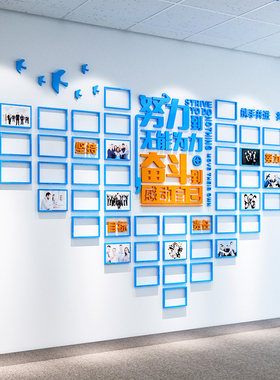 励志亚克力3d立体墙贴画相框公司办公室标语文化背景墙贴纸装饰品