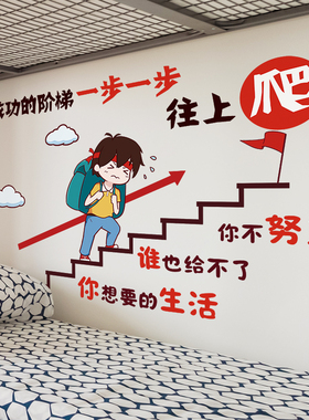 励志墙贴纸儿童房间卧室布置贴画床头海报背景墙面墙壁装饰品男孩