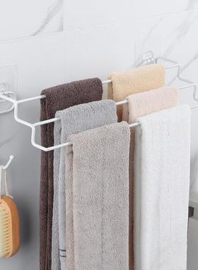 免打孔浴室毛巾架家用双杆厨房抹布架壁挂卫生间卫浴铁艺浴巾挂架