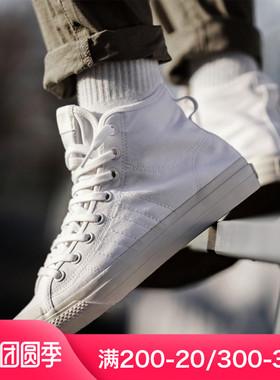 阿迪达斯三叶草NIZZA夏季新款高帮帆布鞋男鞋运动休闲板鞋EF1885