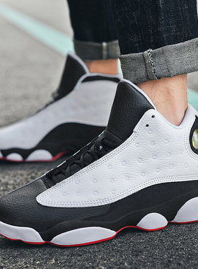 2021新款AJ男鞋夏季高帮透气篮球鞋官网正品aj13黑白熊猫运动鞋