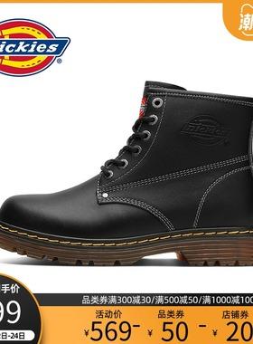 Dickies靴子男高帮2021新款英伦风工装靴男士真皮机车靴秋季男鞋