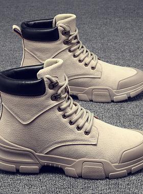 秋冬季男鞋子高帮马丁靴男士中帮工装靴皮靴男靴潮鞋加绒保暖棉鞋
