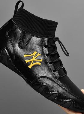 2021新款高帮男鞋冬季加绒保暖棉鞋真皮鞋子休闲潮鞋男士工装靴子