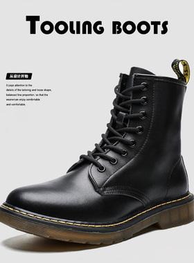 新款黑色马丁靴男高帮真皮英伦风秋冬季加绒工装短靴机车靴男鞋潮