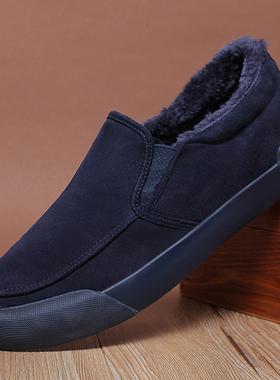 2021新款冬季男鞋潮鞋休闲鞋加绒保暖棉鞋男冬鞋二棉鞋懒人男皮鞋